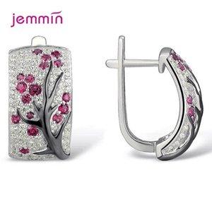 Romantic Cubic Zirconia Flower 925 Sterling Silver Plum Tree Branch Hoop Earrings Korean Style Shiny Wedding Party Jewelry