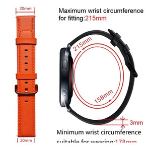 20mm Genuine Leather Watchband For Samsung Galaxy Watch Active 2 42mm Smart Watch Strap For Amazfit Bip Gtr Gts St qylGvP