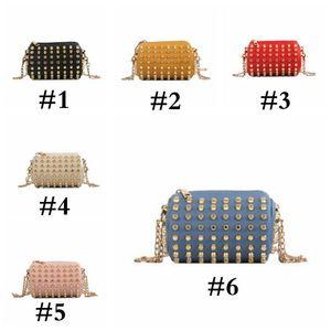 Storage Bag Solid Kids Designer Borse Mini Ragazze completa Rivet Bucket Bag Elegante Catena Borsa a tracolla bambini Portamonete PU SEA SHIPAHC3610
