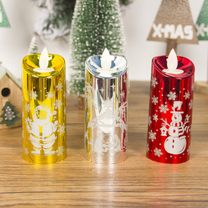 Christmas Led Wind Lights Candle Merry Christmas Snowman Santa Printed Simulation Candle Lamp Office Home Decoration Props