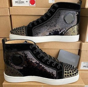 Top Quality Spikes Strass Glitter High Top pattini inferiori rossi di moda scarpe da tennis Uomo Donna Sconto Skateboard Walking partito EU35-47 di nozze