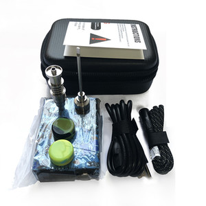 Portable Enail Electric Dab Nail Pen Rig Wax PID TC Box With Titanium Domeless Coil Heater Quartz Nail kit silicone pad glass bong