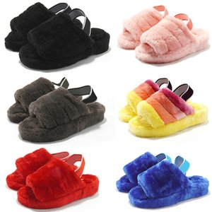 2020 Fashion women men slides winter fluffy furry slippers Blue yellow brown Orange warm comfortable fuzzy girl flip flops size 36-42