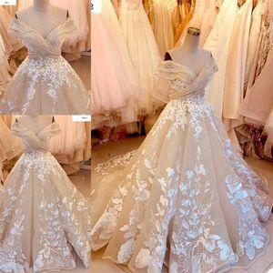 Floral Beach Wedding Dresses A Line Sexy Off Shoulder Cheap Custom Made Lace Applique Bohemian Bridal Gowns Robe De Mariée
