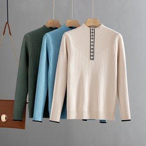 ByGouby Botton Moda donna autunno inverno maglione caldo maglione spessa maglia pullover jumper top fempe slime costola maglione LJ201125