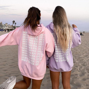 Oversized Pink Hoodie Sweatshirt Women 2021 Harajuku Autumn Letter Print Casual Long Pullovers Y2k Tops Purple Hoodies Sudaderas