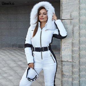 Умеко 2020 зимних женщин с капюшоном Parka Хлопок мягкие теплые лыжные лыжные костюмы без пояса один кусок повседневные трексеи