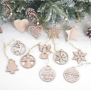 Christmas Tree Ornament Wooden Christmas Snowflake Pendant Laser Carved Wood Hollow Small Pendant Exquisite Christmas Decorations RRA3683