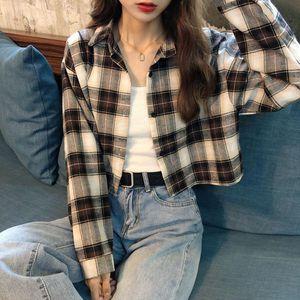 Autumn Winter 2020 New Korean Version Loose Plaid Long-sleeved Cardigan Jacket Women Show Thin Shirt Tide Blouse Women Goth