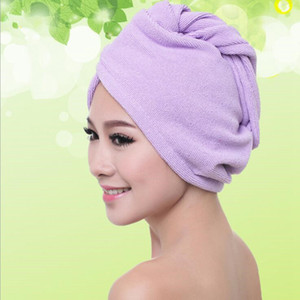 Quick Dry Shower Caps Pure Color Strong Water Absorption Shower Caps Hair Dry Candy Color Drying Turban Hats WY351DXP
