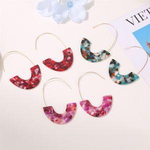 U Shaped Acrylic Dangle Earrings Jewelry Acetic Acid Plate Plated Gold Women Retro Fashion Eardrop Leopard Print Earring 1 8qw J2