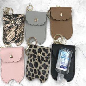 PU Leather Travel Bottle Holder Hand Sanitizer Holder Refillable Reusable Bottles Wrist Coil Key Chain z65