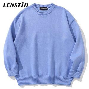 Lenstid 11 Colori Solid Maglia Maglione Maglioni Streetwear Harajuku Autunno Oversize PullOvers Moda Casual Uomo Abbigliamento 201126