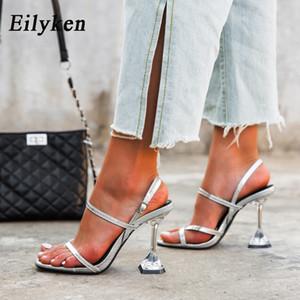 Eilyken nuovo argento indietro cinghia sandali trasparenti di perspex tacco a spillo Tacchi alti cristallo di Slingbacks Donne Wedding pompa i sandali 201021