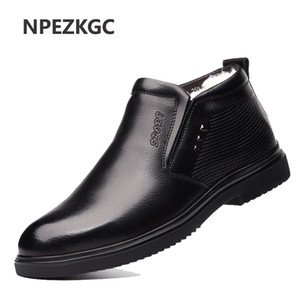 Hot Sale-2020 New Fashion Men work Leather Boots cold Winter Warm Men snow boots Genuine Leather Shoes Men's Wool cotton boots footwear