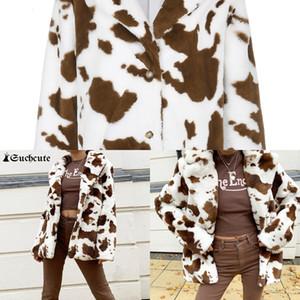 Imprimir SuchCUTE Leopardo Casual suelto Faux Fiux abrigo de piel KPOP Mujer Chaqueta 2020 Winter Streetwear Female mullido abrigo Y2K Moda 05E7