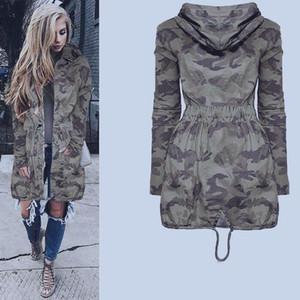 Boyfriend Womens Fashion Hooded Casual Long Coat Jacket Loose Zipper Army Windbreaker Camouflage Outwear Streetwear 201021
