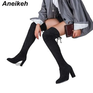 Aneikeh Retro Riding, Equestrian Boots Spring Autumn Fashion Narrow Band T-Tied Sewing Lace-Up Flock Over-The-Knee Ladies Shoe