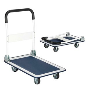 330lbs Platform Cart Folding Dolly Push Hand Truck Moving Warehouse White & Blue