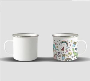 DIY sublimation Enamel Coffee Camping Mug 12oz Steel Mug Durable Travel Enamel Beverage Mugs with Nostalgia