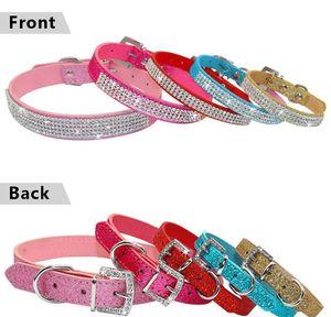 Bling Diamante Rhinestone PU cuero cuero collares de perro rosa para pequeños perros medios chihuahua yorkie 5 color qylhak xhhair