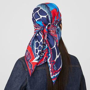 Ручная ручная кромка шелковый квадрат шарф топ женские двухсторонние атласные шарфы жираф животных винтажные головки шеи шарфы шаль