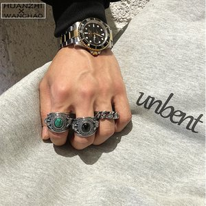 HANGZHI Cool Punk Vintage Titanium Steel Black Green Gem Ring Large Rings For Women Men Fashion Got Engaged Wedding Party Gifts