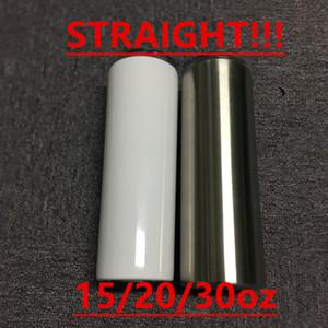 EM LINHA RETA! 20oz Sublimação Skinny Straight Tumblers com palha de aço inoxidável garrafas de água dupla copos isolados canecas frete grátis A12