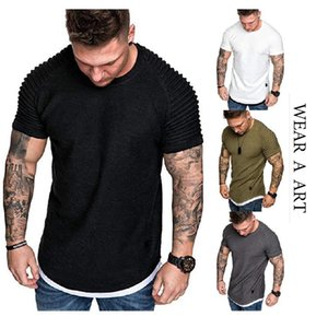 Men Wrinkle T-shirt Man Pure Color Clothes Boy Fashion Fold Top Male Breathable Tees Short Sleeve Fashion Casual Sport Outdoor Ventilate New