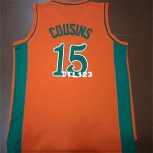 Raro121 fotos reais todas bordadas com Costume Demarcus Cousins Leflore College Jersey Tamanho S-4XL ou Personalizado Qualquer nome ou Número Jersey