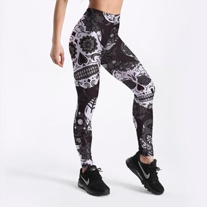 3D printed fitness push up workout leggings women Gothic rose flower skull plus size High Waist punk rock pants