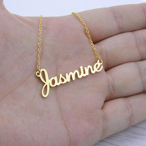 Nombre de la vendimia Collar de escritura a mano real Firma colgante, collar de hombres de las mujeres Gargantilla joyería Amistad regalo para ella