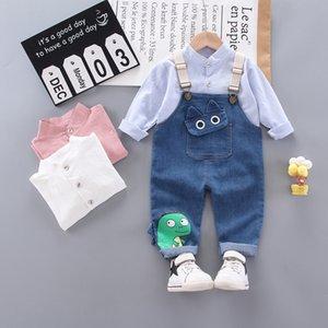 Spring Baby Girls Boys Clothing Infant Clothes Denim Suits Cotton shirt overalls Jeans Pants 2pcs set Casual Kids Costume Sets 201022