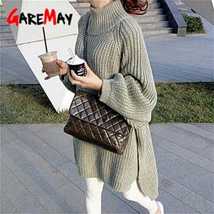 GareMay осени зима вязаного свитера платье женщины теплой водолазка сексуальной рыхлый беременная макси плюс размером женской дамы длинных свитеров LJ201114