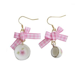 Earrings for women Bowknot is melting fashionable joker temperament asymmetric coffee cup dish eardrop bowknot earrings1