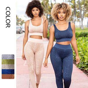 Moda Kadın Yoga Set Avrupa ve Amerikan Yılan Desen Eşofmanlar Spor Yelek + Yüksek Bel Tayt Egzersiz Takım Boyutu S-L