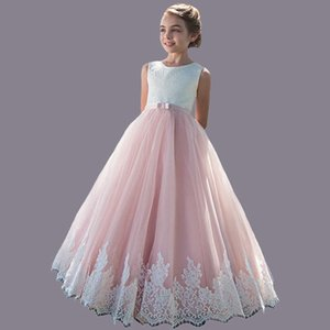 Elegant Flower Girl Dress for Wedding Kids Sleeveless Lace Tulle Pageant Girl Gowns Long Princess Dresses Girls Party Dresses