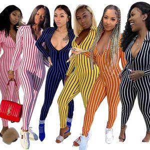 Moda Rayas Sapa Cuello Mujeres Monumentos Profundo Cuello en V Slim Spring Fall Damas Casual Designer Mamperistas Home Mampers 2s4yx