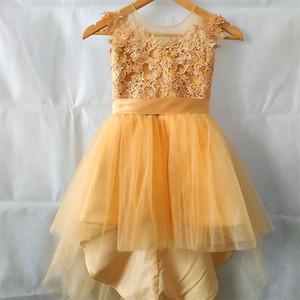 New Arrival Flower Girl Dress for Wedding Short Front Long Back Girl's Pageant Gowns Lovely Birthday Party Kids Children Dress