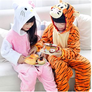 Hiver doux Tenues Blanket Sleeper enfants Flanelle animaux Pyjama enfants cosplay capuche Romper nuit