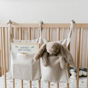 Bedside Storage Bag Linen Baby Crib Hanging Bag Nursery Bed Rails Book Toy Diaper Pockets Bed Holder 4 Colors DW6368