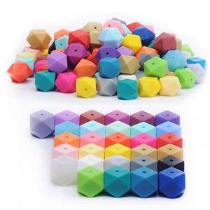 Пищевые силиконовые силиконовые свободные бусины ювелирные изделия DIY шестиугольник 14 мм 17 мм детские моляры звезды аниса бусины детские игрушки браслет ожерелье частей 0 55SY м2
