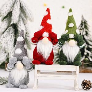 Noel Dekorasyon Sevimli Kapak Gözler Noel Baba Peluş Bebek Yüzüle Santa Gnome Bebek Süsler Yeni Yıl Hediye Noel Partisi Dekor HH9-3427