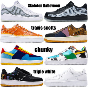 Black Skeleton Halloween low 1 mens basketball shoes travis scotts chunky glow in the dark CNY triple white men women trainers sneakers