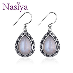 Nasiya Moonstone الأحجار الكريمة أقراط للنساء خمر 925 الاسترليني والفضة والمجوهرات لإشراك حزب الذكرى عيد ميلاد LJ201014