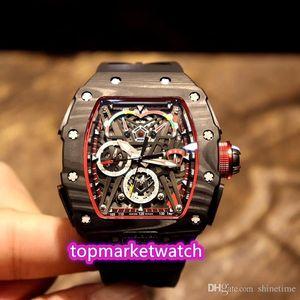 Fabricantes de alta calidad Mejor edición RM 50-03 / 01 McLaren F1 Esqueleto Dial automático mecánico RM50-03 MENS Reloj Negro NTPT Todo carbono F