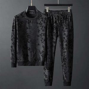 2020 productos europeos otoño nuevo sencillo jacquard personalizada cuello redondo de manga larga pantalones suéter traje de dos piezas de la marea de los hombres