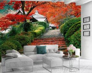 3d Modern Wallpaper Romantic Landscape 3d Mural Wallpaper Flaming Maple Leaf Living Room Bedroom TV Background Wall Wallpaper