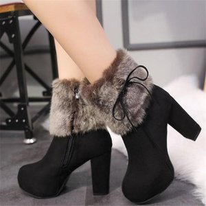 Thick with high heel boots women's winter shoes new thick platform waterproof platform boots plus velvet women's 01