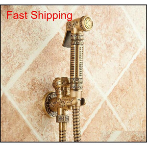Wholesale And Retail Antique Brass Bathroom Bidet Faucet Flower Carved Toilet Clearing Hand Shower Mop Fauce qylvKf toys2010